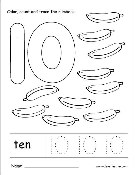 Number 10 tracing and colouring worksheet for kindergarten ...