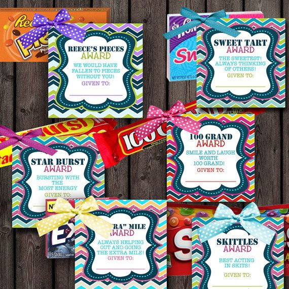 candy award tags, girls camp candy awards, rainbow chevron tags, 24 different candy tags
