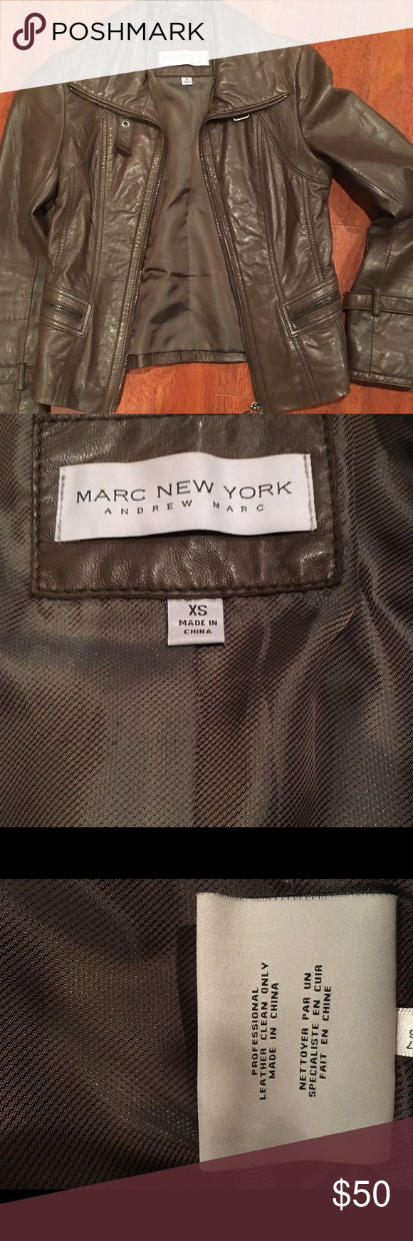Marc New York Andrew Marc Leather Jacket Barely used and in excellent condition. Size XS. Andrew Marc Jackets & Coats