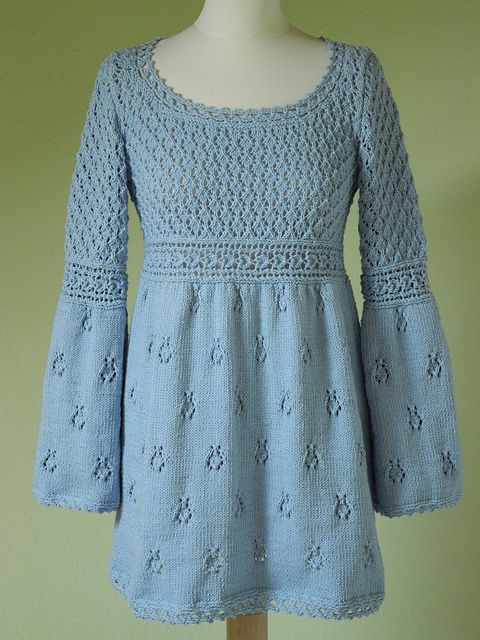 Empire Waist Tunic - Beautiful Details in this Free Knitting Pattern