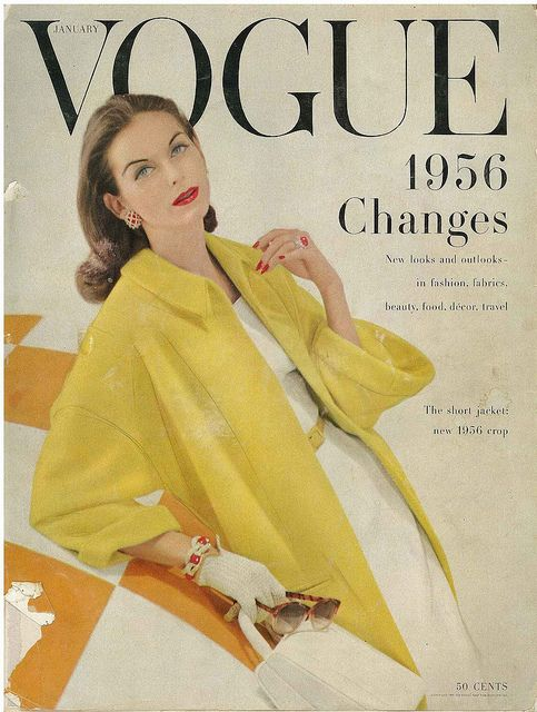 Vogue, January 1956 ~ fair skin with brown hair looks so pretty wearing yellow ~