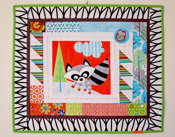 Wall Quilt for Kids - Gift for Boys - Baby Room Decoration - Racoon Mini Quilt by NerosPost on Etsy