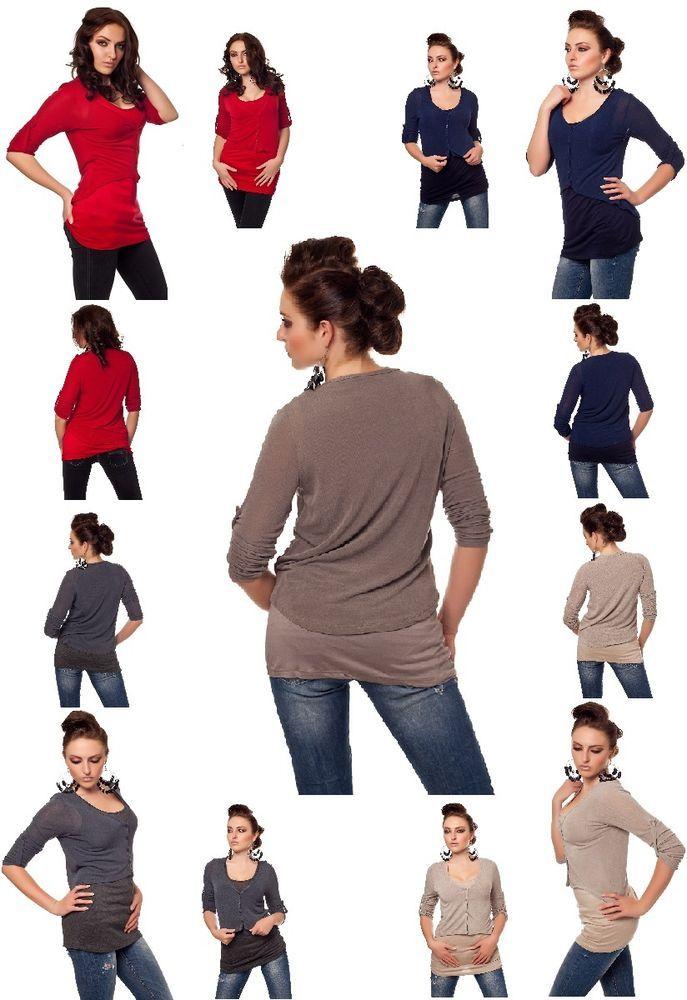Cardigan+Longshirt,Jäckchen+Bluse,Bolero+Trägertop Rot,Beige,Braun,Grau,D-BlauSM