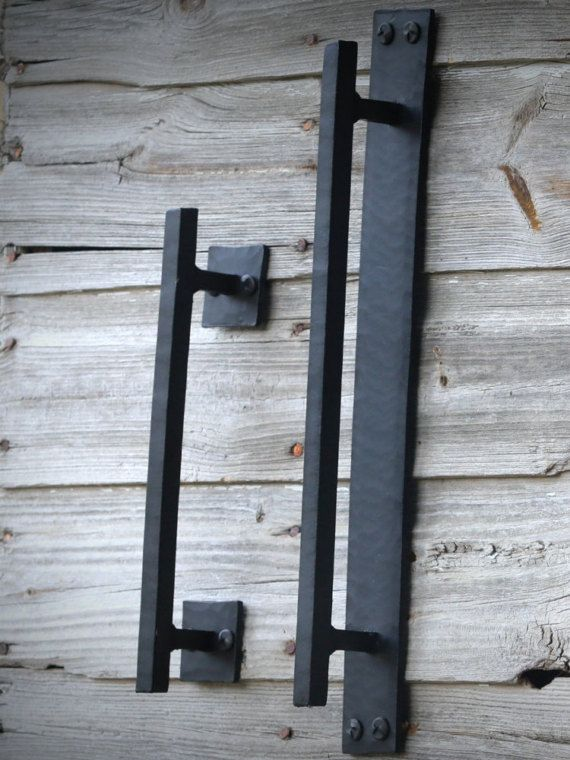 These rustic and beautiful handles will bring a unique look to any door. This listing is for ONE door pull. Our beautiful wrought iron door pull handles are made from 3/4 square or round material. These door pulls are intended for indoor use. You can add a clear coat if using