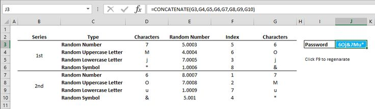 How to create a random secure password in excel excel