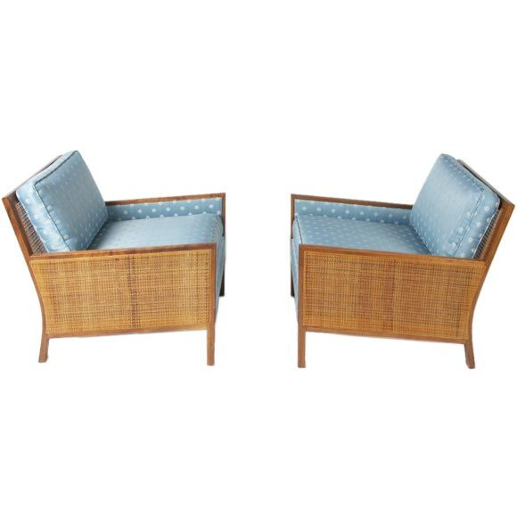 Milo Baughman 1950's Cane panel club chairs | From a unique collection of antique and modern club chairs at https://www.1stdibs.com/furniture/seating/club-chairs/