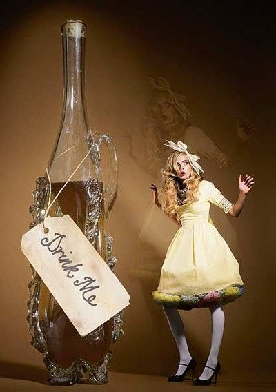 It was all very well to say `Drink me,' but the wise little Alice was not going to do that in a hurry.
