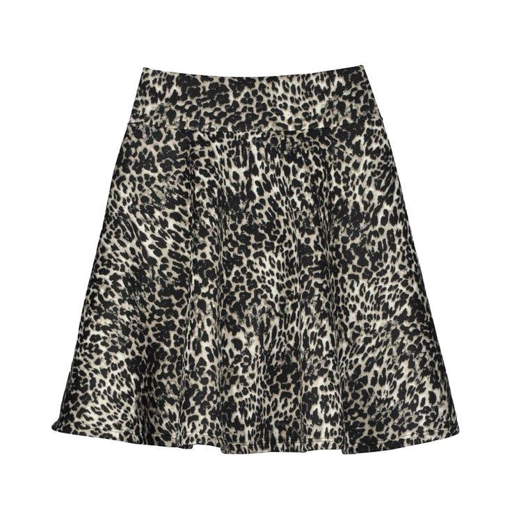 Falda corta de mujer corta evasé animal print leopardo, tela lycra algodón, pretina elasticada que no se marca.