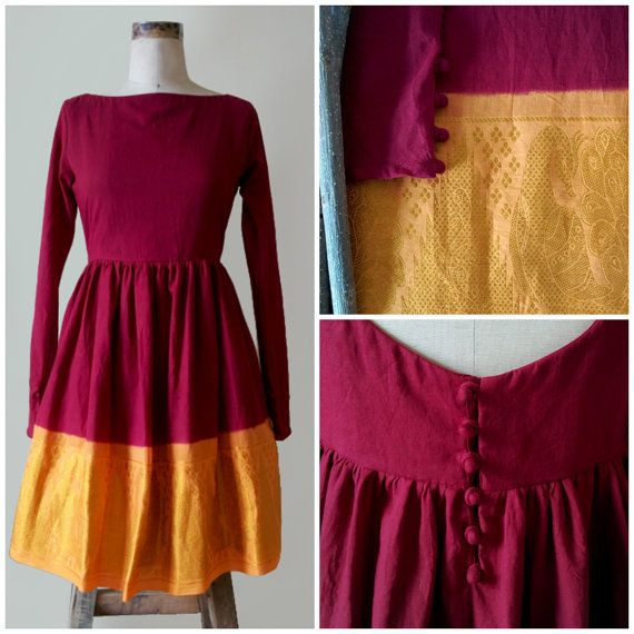Maroon Red and Yellow Ombre Full Sleeve Dress crafted from a traitional Indian saree by MograDesigns