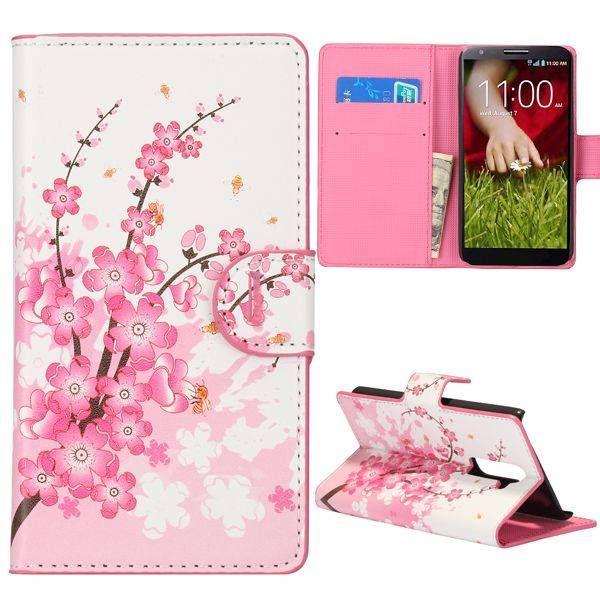 Roze bloesem booktype hoesje voor LG G2