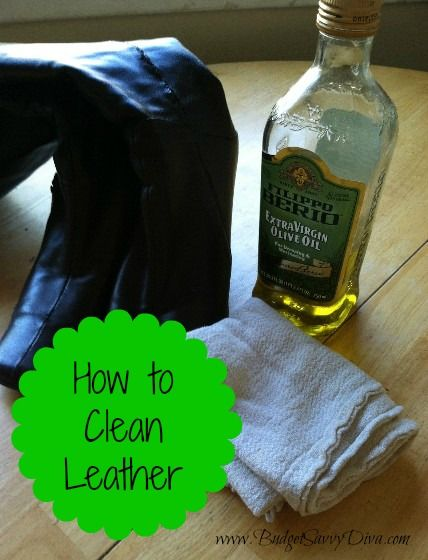 DIY Leather Cleaner  DIY Leather Cleaner Whether you have a couch, jacket or some boots made from leather, here is a DIY Leather Cleaner you can use when they need to be cleaned. Add ½ cup flaxseed, linseed or olive oil with 1/8 cup of distilled water. Wipe small amounts onto your leather surface with a soft cloth. Wipe off with a dry cloth.