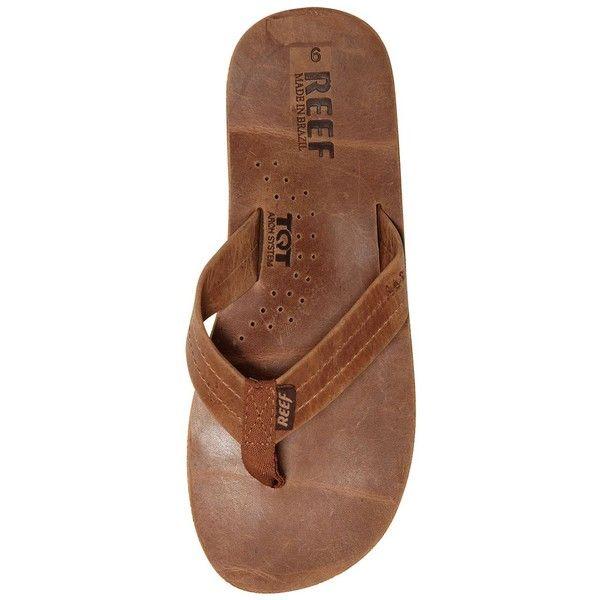 Reef Men Draftsmen Full Grain Leather Flip Flops (260 BRL) ❤ liked on Polyvore…