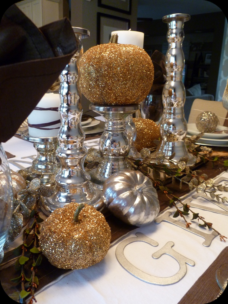 Make diy metallic thanksgiving table decor tutorial Thanksgiving table decorations homemade