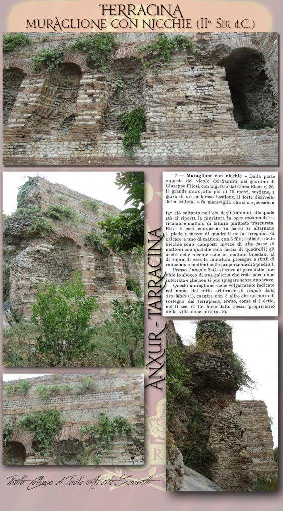 ' Massive wall with niches ( II sec . A.D. )   'Muraglione con nicchie (II sec. d.C.)'.   Rif. bibl. : G. Lugli - 'Forma Italiae . Regio I - Ager Pomptinus - pars prima - Anxur-Tarracina', Roma, 1926, c. 72-73 N. Cassieri – P.C. Innico, 'Ritrovamenti lungo la Via Appia da Mesa di Pontina a Terracina', in 'Lazio e Sabina 4', Roma, 2007