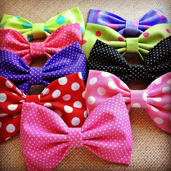 4 FOR 12 Assorted polka dot handmade fabric bow by Bowliciousdivas, $12.00