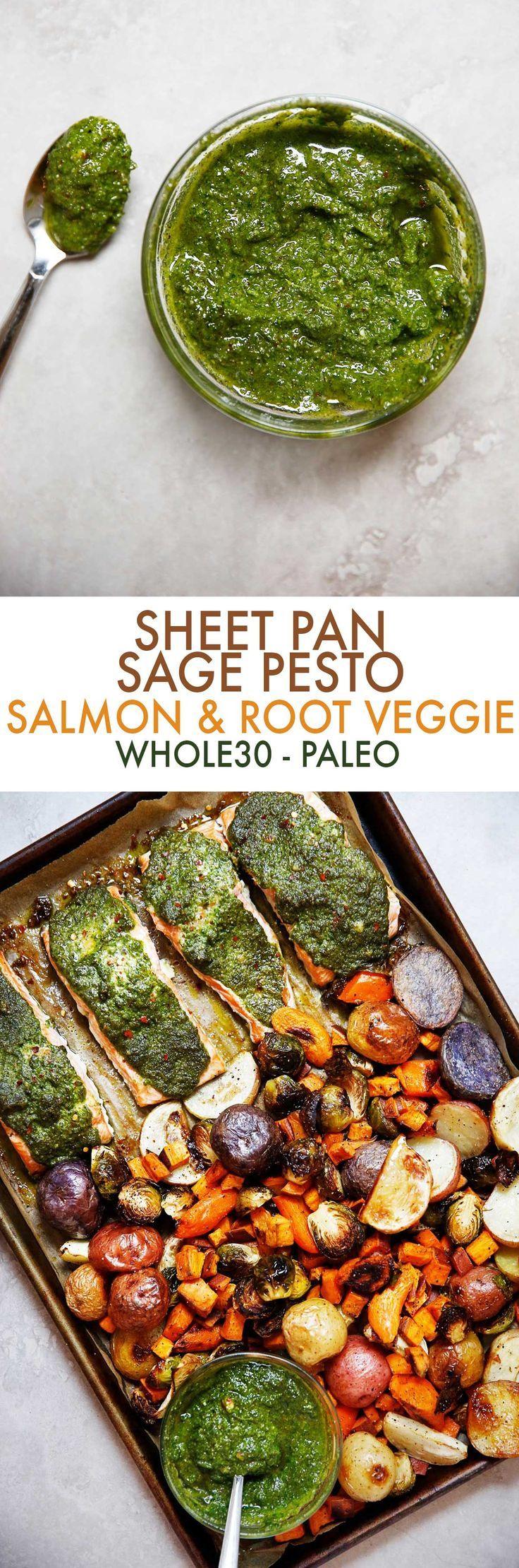 Sheet Pan Root Vegetable and Sage Pesto Salmon - Lexi's Clean Kitchen #sheetpan #salmon #pesto #veggies #easydinner