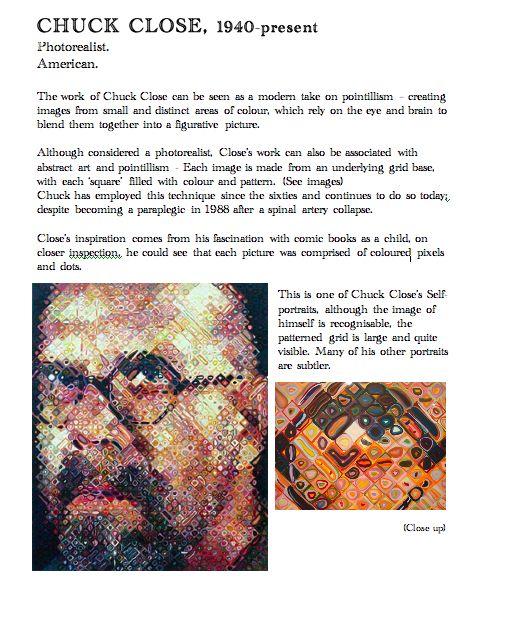 Chuck Close. Artist Fact Sheet. Blue Sparrrows Art Club,