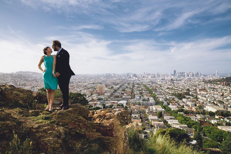 On top of the world--or at least San Francisco, with this romantic shot over the picturesque Bernal Heights park. T.J. Salsman Photography - Napa Valley Wedding, elopement, and portrait photographer #SanFrancisco #engagement #engaged #BernalHeights