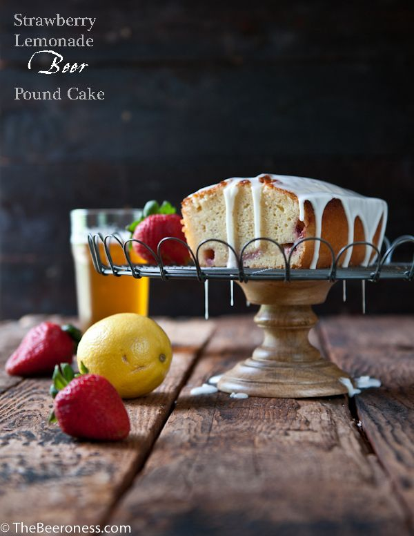 Strawberry Lemonade Beer Pound Cake | The Beeroness: Pound Cakes, Pound Cakep, Strawberries Lemonade, Lemonade Beer, Strawberry Lemonade, Emonad Beer, Cakes Thebeero, Beer Pound, Cakes Sound