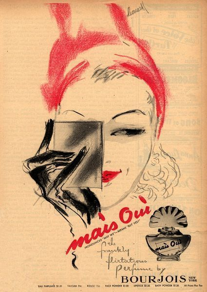 BOURJOIS 1940s | Mais Oui Perfume | #vintage #beauty #advertising