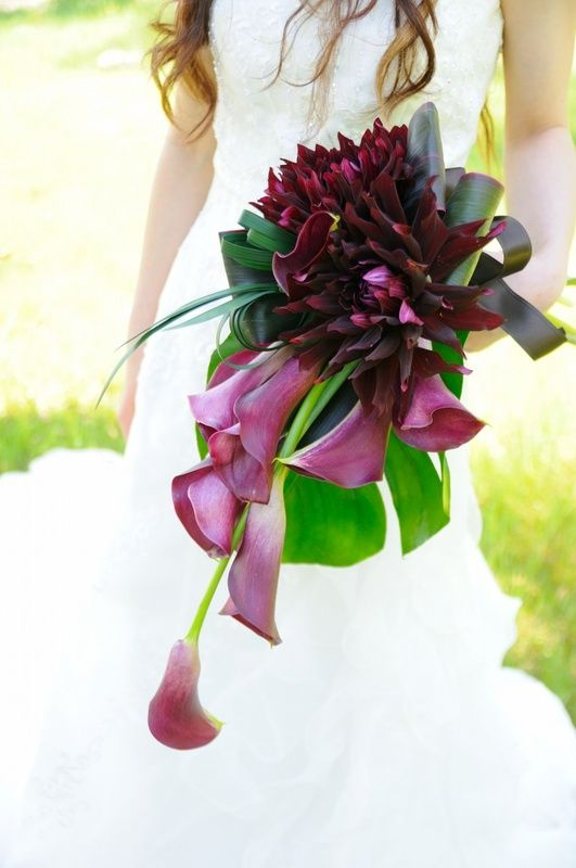 Dark colored dahlia and calla lily bouquet