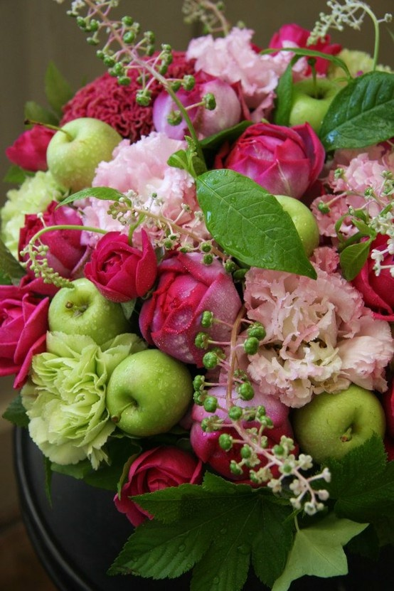 Love the colors and mixture of flowers and fruit...