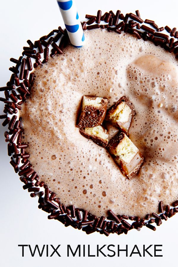 Twix is one of the most popular candy bars in the world. While we eat it, we've yet to drink it. Until now. This creamy Twix Milkshake recipe, a blend up of the cookie center, caramel topping and chocolate coating, is well on its way to be the most popular milkshake in the world! #BiteMeMore #milkshakes