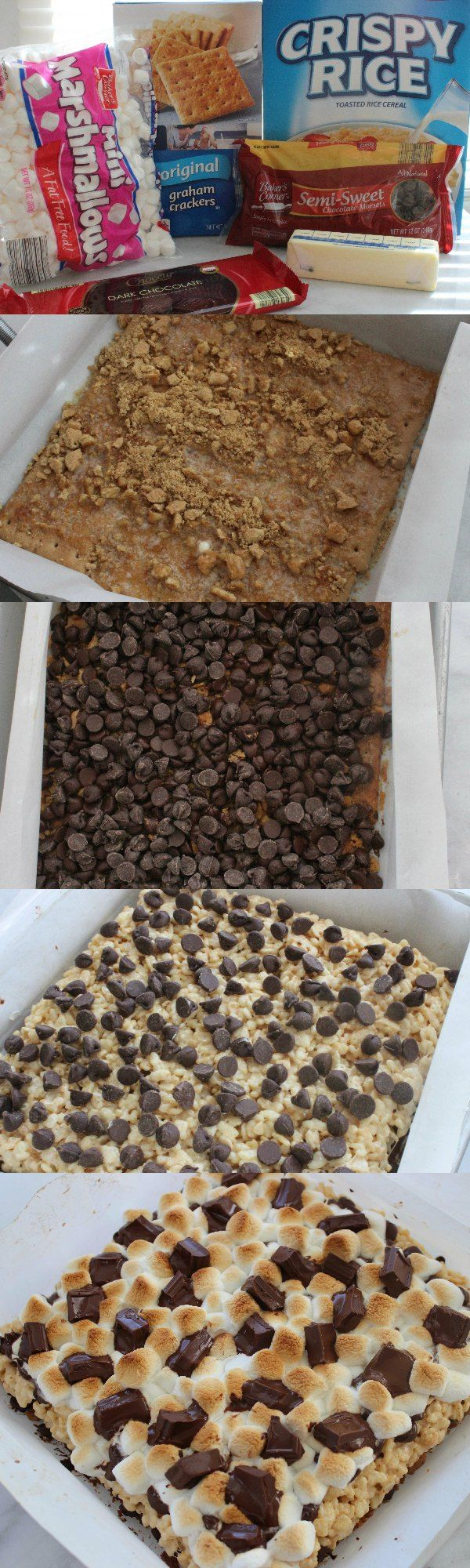 These S'Mores Krispie Treats combines your favorite Rice Krispie Treats cereal with the taste of your favorite classic S'mores recipes for a yummy summertime treat.