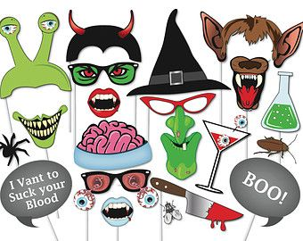 Halloween Photo booth Props Set - 37 Piece PRINTABLE - Witch, Werewolf, Devil, Vampire, Zombie, Mummy, Scary Clown, Party Photobooth Props