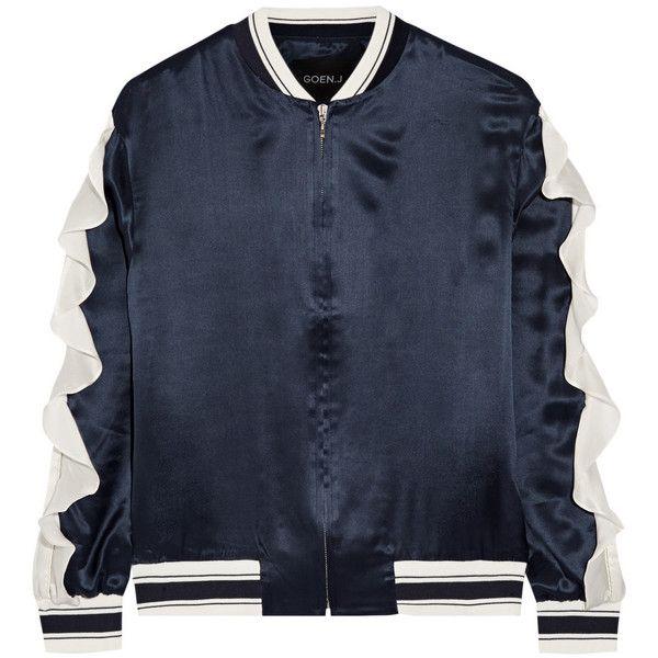 Goen J Ruffled silk-satin bomber jacket (12.267.405 IDR) ❤ liked on Polyvore featuring outerwear, jackets, bomber jacket, blue bomber jacket, blouson jacket, flight jacket and ruffle jacket