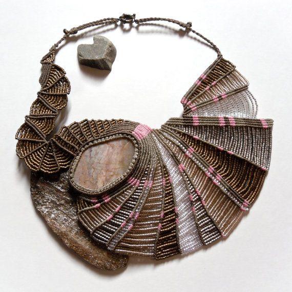 Kootenay Stone Micro Macrame Necklace, by Kate Moran