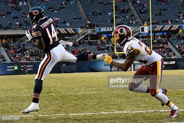 News Photo : Deonte Thompson of the Chicago Bears catches the...