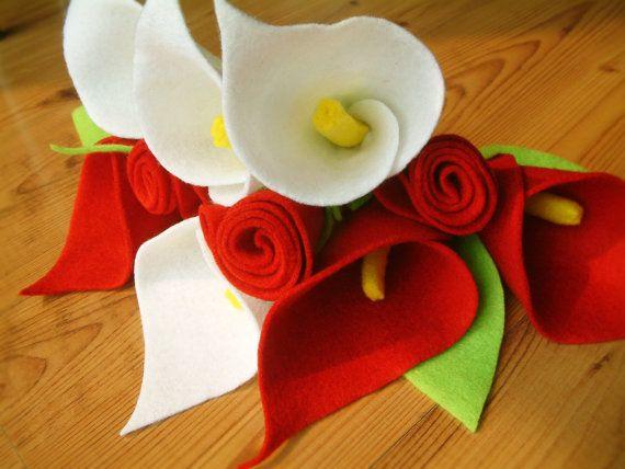 Felt flowers set Rose calla lily daisy tulip Special от fairyfox