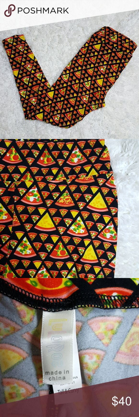 Lularoe Pizza Leggings TC Tall and Curvy Fun pizza leggings! These have been worn and washed nut have no flaws. Nice condition! Women's size Tall and Curvy.   #597 LuLaRoe Pants Leggings