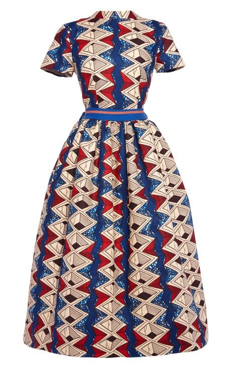 Shop Myrtle Printed Wax Cotton Party Dress With Striped Bow by Stella Jean