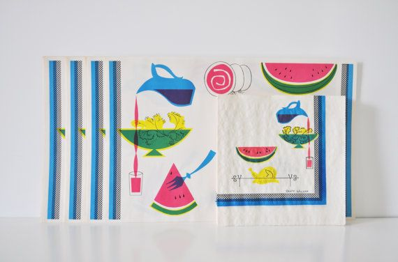 MidCentury Placemats and Napkins Set by thewhitepepper on Etsy, $20.50