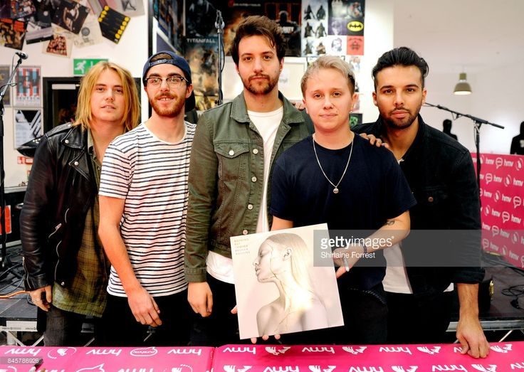 Conor Mason, Joe Langridge-Brown, Dominic Craik, Philip Blake and James Price of Nothing But Thieves perform live and sign copies of their new album 'Broken Machine' at HMV Manchester on September 11, 2017 in Manchester, England.