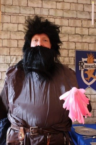Harry Potter Party Hagrid Costume.  The pink umbrella totally make the costume.