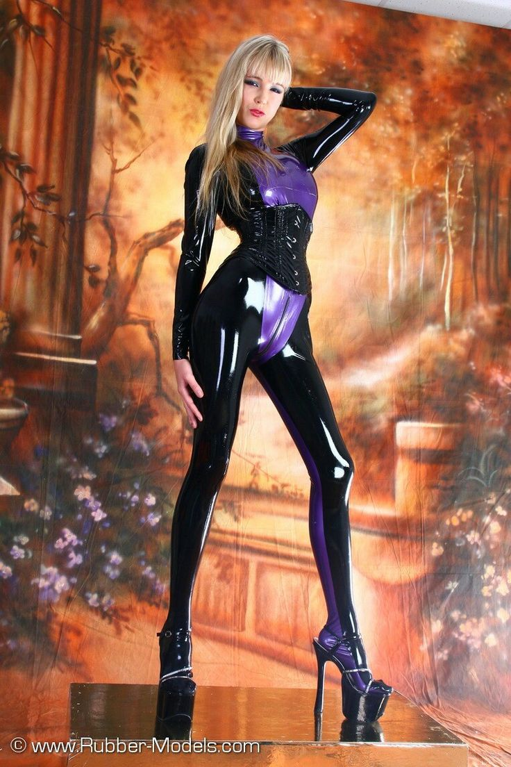 Purple and black rubber catsuit
