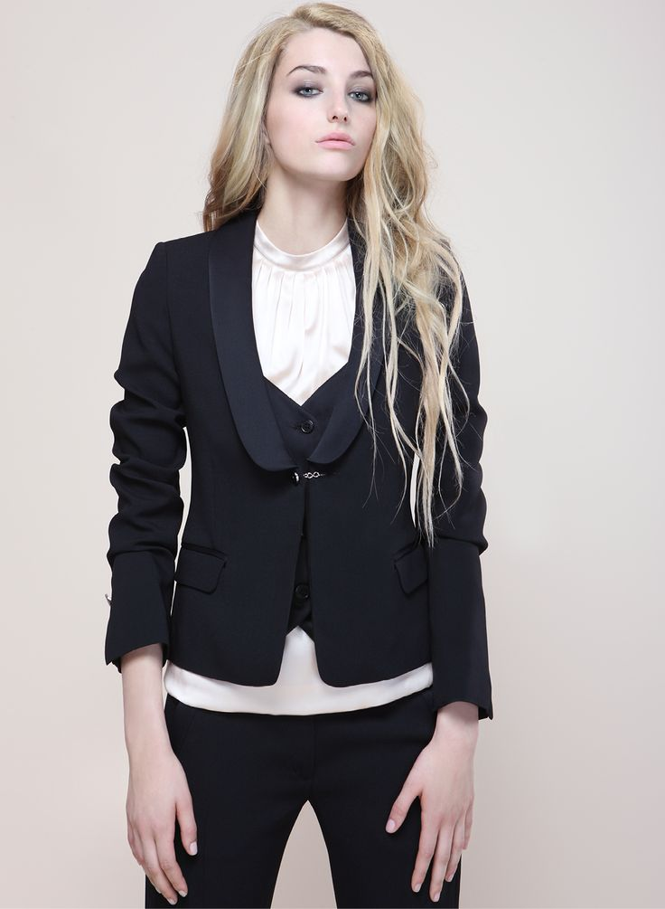 black jacket with jilet and white top. Proudly Made in Italy