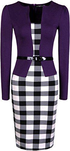 jeansian Women's Office Lady Slim Plaid Long Sleeves Pencil Dresses WKD177 Purple XXS