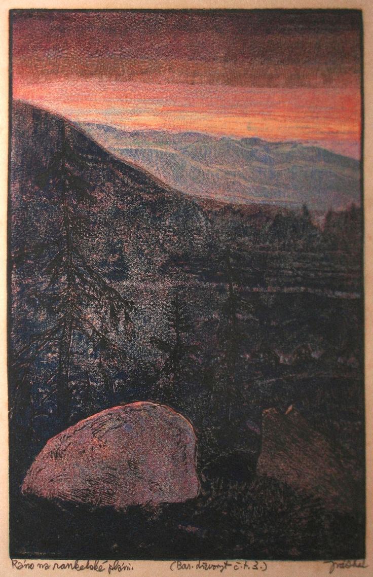 Josef Váchal, woodcut,  from Šumava umírající a romantická