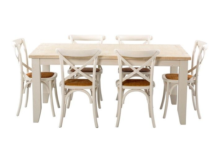 Florence 1800 Dining Package with French Cross Chairs (Table:  1800W x 1050D x 775H mm; Chairs: 460W x 420D x 870H mm)  RRP $1,438