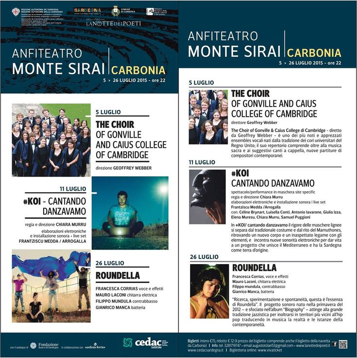 XXXIII FESTIVAL LA NOTTE DEI POETI – ANFITEATRO MONTE SIRAI -CARBONIA- 5-26 LUGLIO 2015