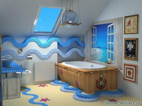 Морская ванная комната | Дизайн ванной комнаты | Фотогалерея ремонта и дизайна | Школа ремонта. Ремонт своими руками. Советы профессионалов