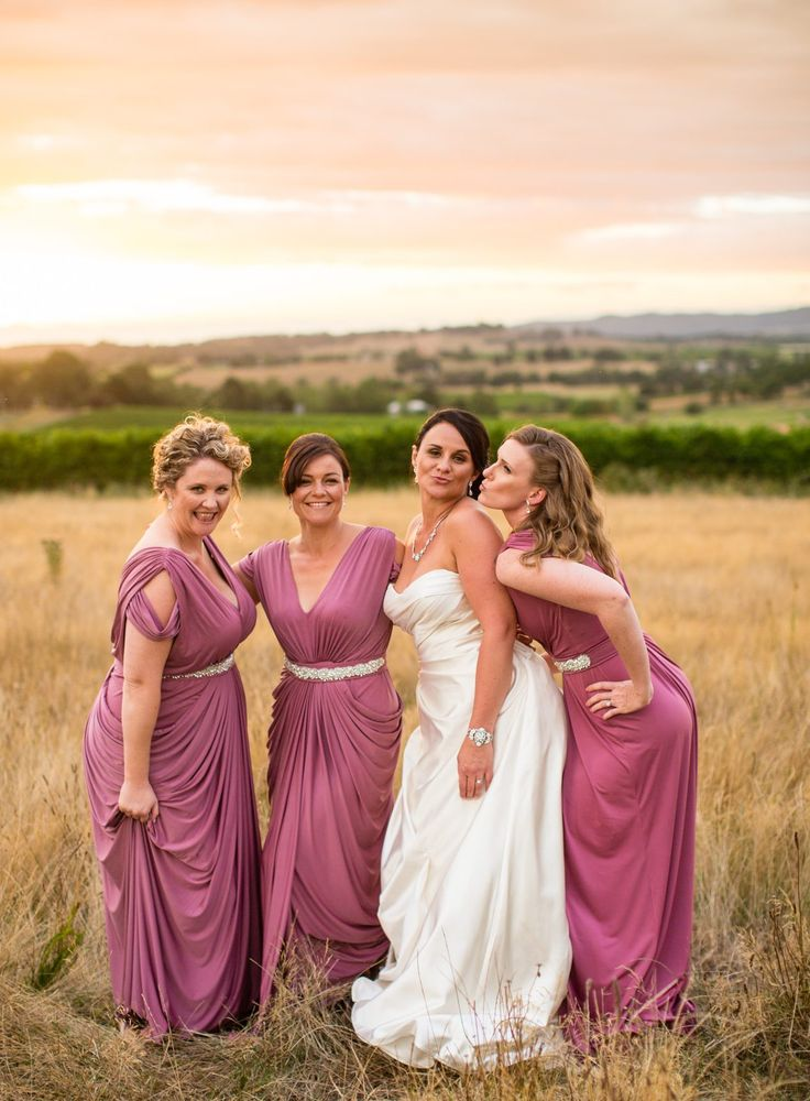 Pia Gladys Perey bridesmaid dresses in Old Rose. The Riverstone Estate, Yarra Valley Winery weddings, melbourne wedding. Wedding photos, sunset photos