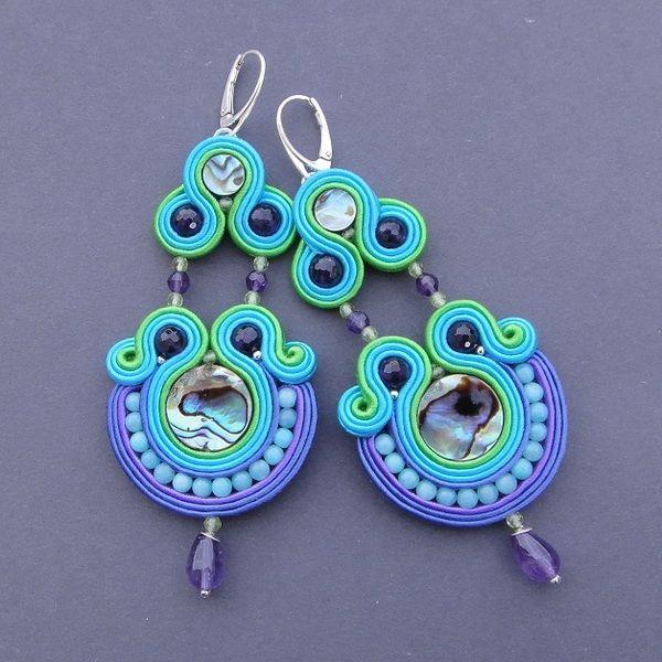 Like a Bird - kolczyki sutasz z Muszlą Abalone w Blue Butterfly na DaWanda.com