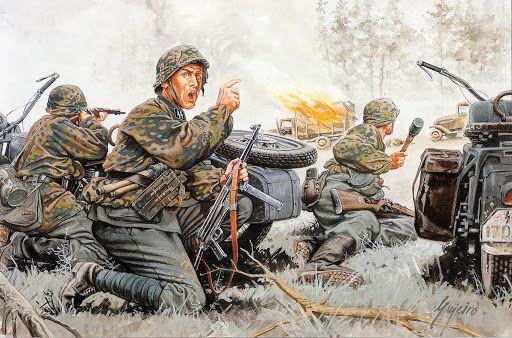 El Untersurmführer Fritz Vogt de las SS captura una columna enemiga. Francia 1.940. Vogt y su pelotón de motocicletas de reconocimiento interceptaron una columna de camiones franceses en retirada haciendo 250 prisioneros , capturando los camiones y 2 cañones, siendo condecorado con la Cruz de Caballero. Vogt continuó luchando con distinción durante toda la guerra hasta ser mortalmente herido en marzo de 1945, recibiendo las Hojas de Roble antes de morir. Más en www.elgrancapitan.org/foro/