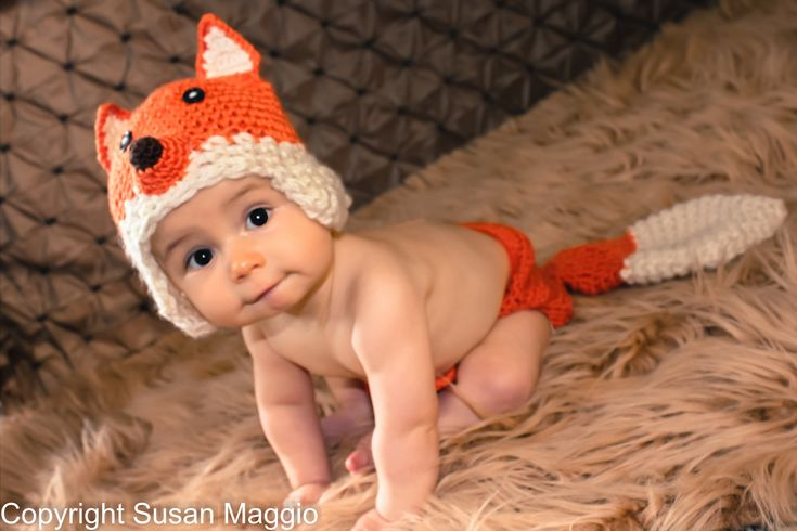 Crochet Fox Hat and Diaper cover  - PDF Pattern (5 sizes). $5.50, via Etsy.