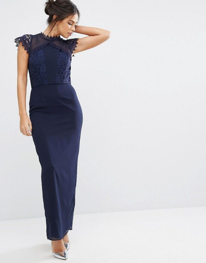 Elise Ryan Maxi Dress With Delicate Lace Trim